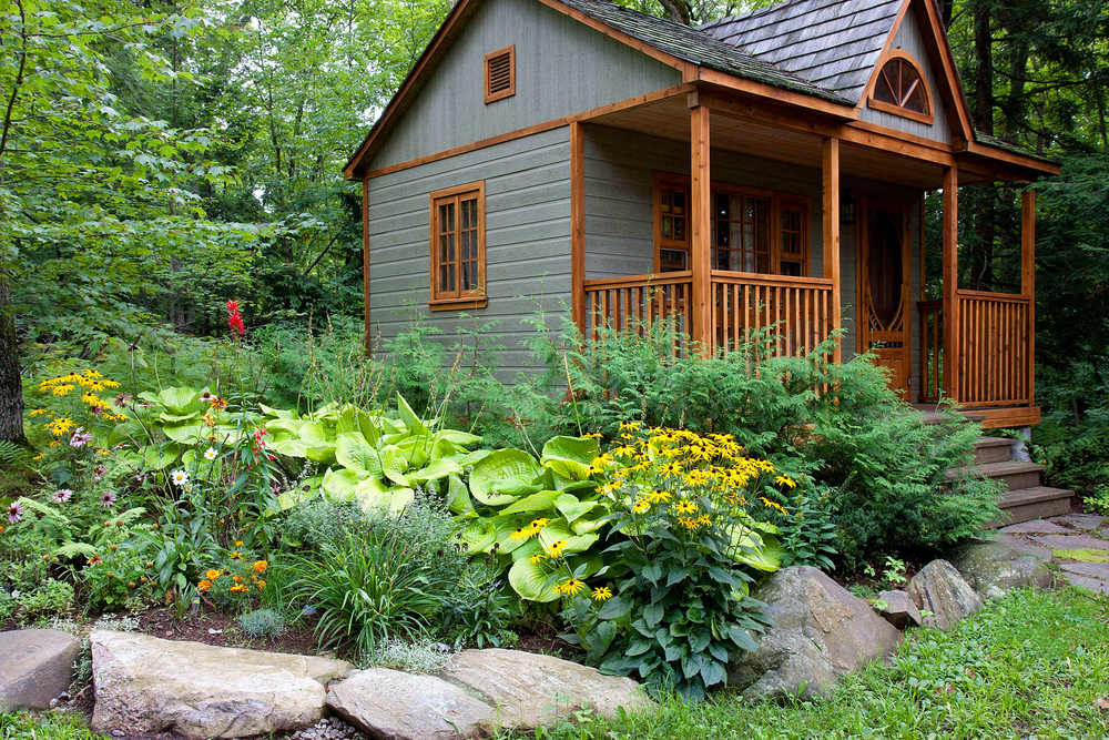 Backyard cottage, garden, trees