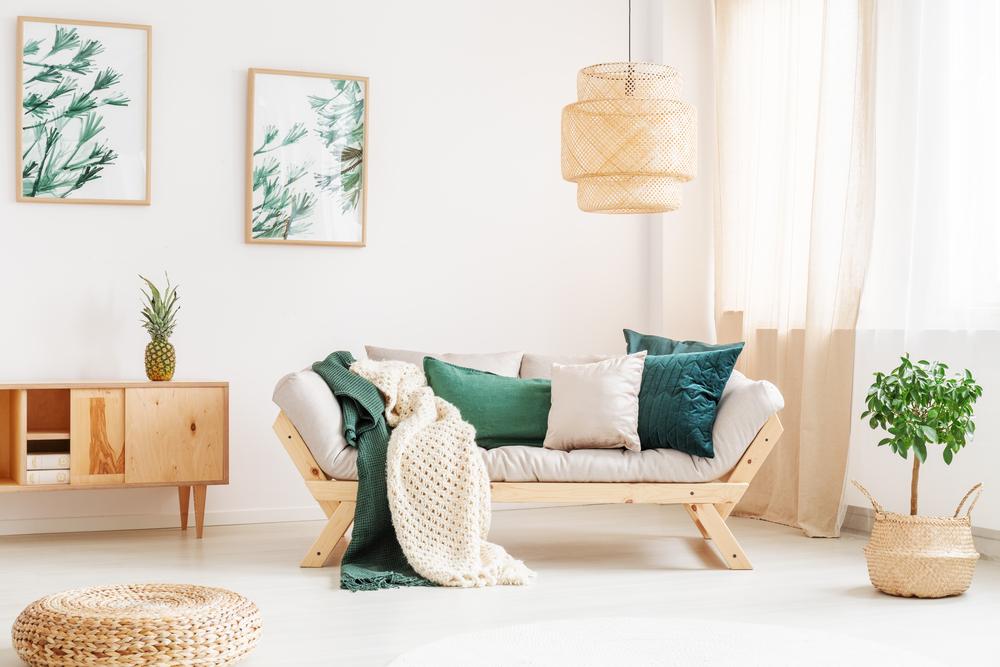Bright living room with big window, sofa, storage