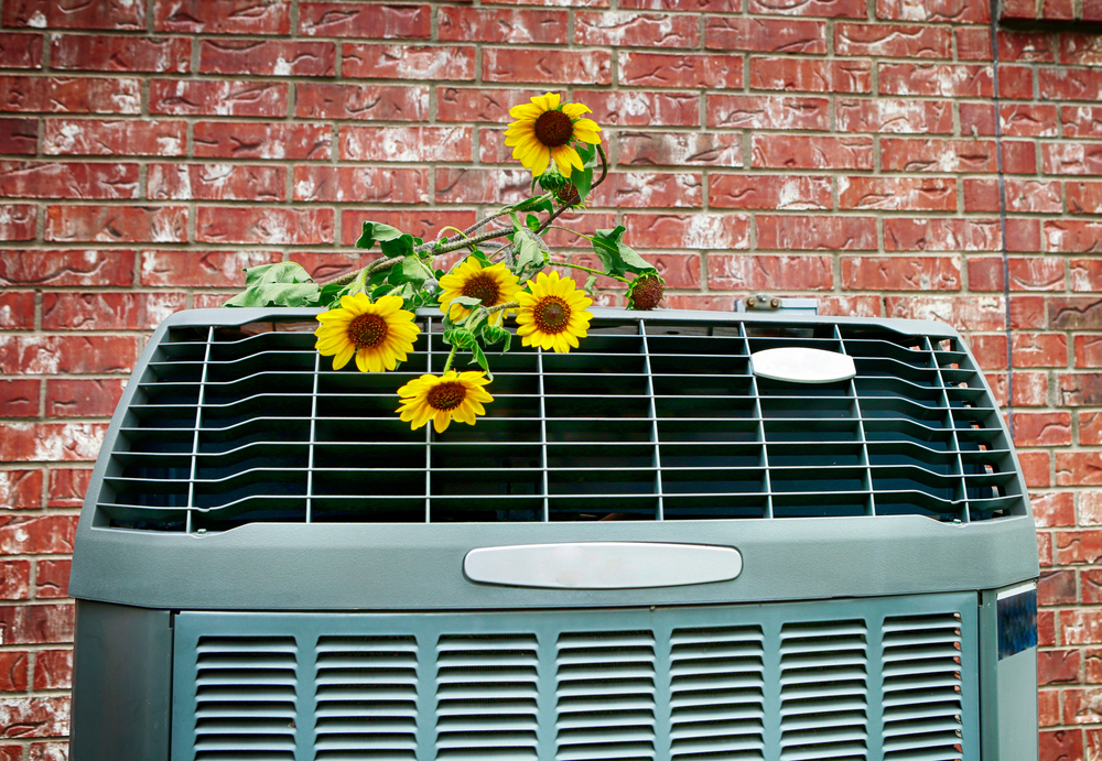 central air conditioner with sunflowers