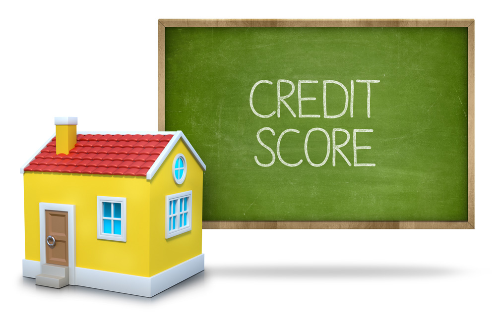 Credit score text, blackboard, 3d house, How to get a loan with bad credit