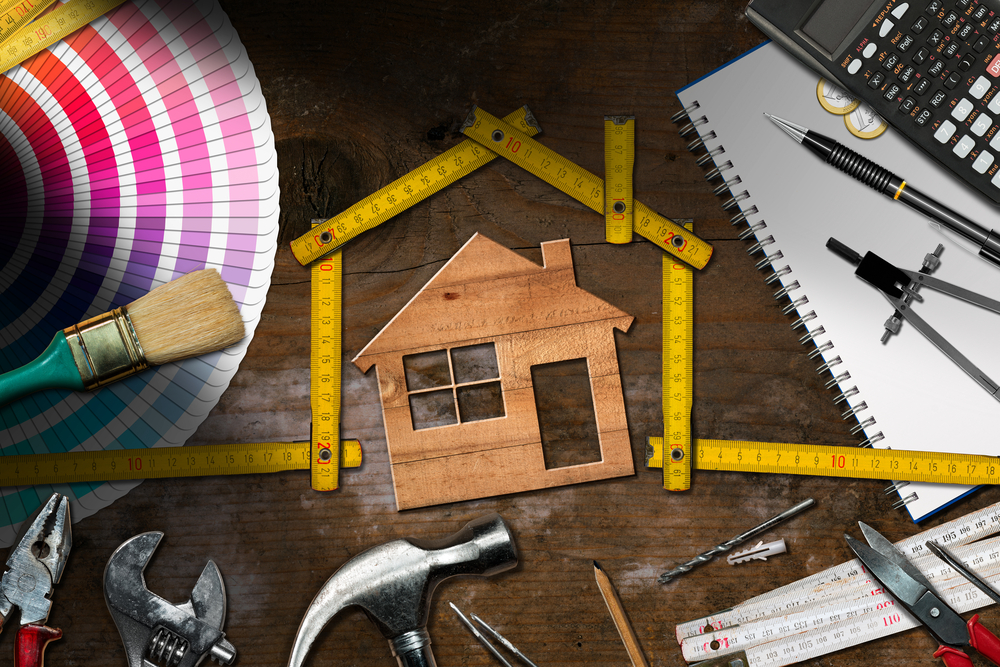 Home improvement, work tools, calculator, paint chips