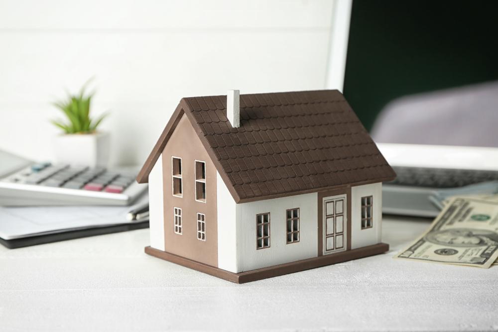 model house, cash, rental property