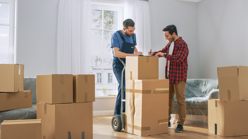 professional mover, homeowner with moving boxes, moving day